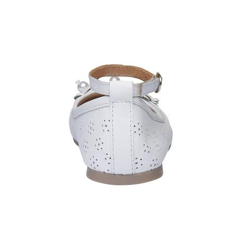 Ballerine da ragazza in pelle con perline mini-b, bianco, 324-1170 - 17