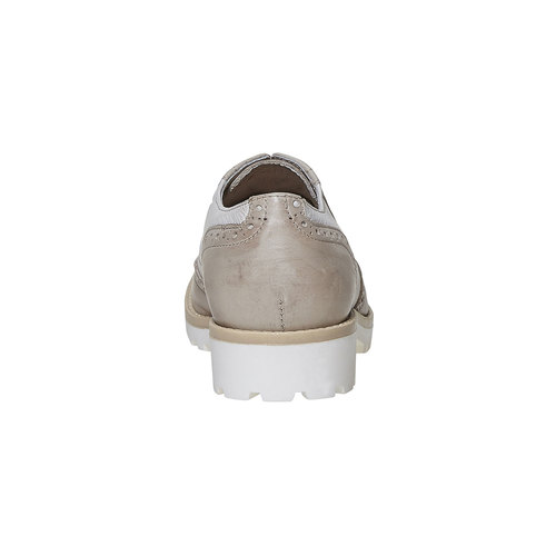 Scarpe basse di pelle con decorazione Brogue bata, grigio, 524-2129 - 17