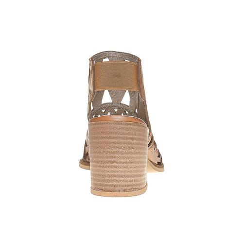 Sandali di pelle con tacco ampio bata, marrone, 764-3532 - 17