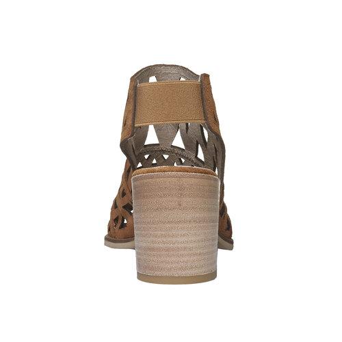 Sandali di pelle con tacco ampio bata, marrone, 763-8532 - 17