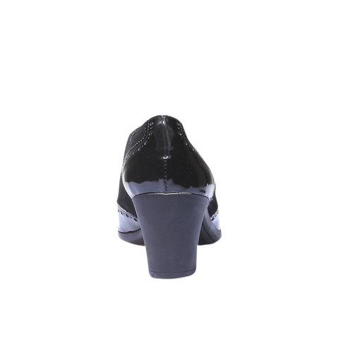 Scarpe basse da donna in pelle con tacco flexible, nero, 623-6155 - 17