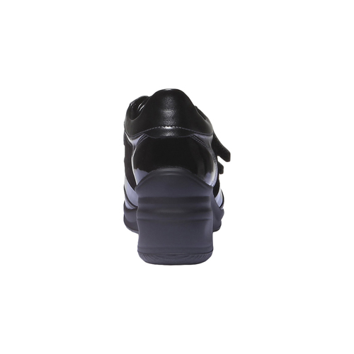 Sneakers in pelle con zeppa bata, nero, 621-6105 - 17
