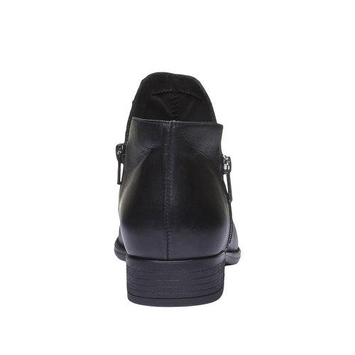 Stivaletti di pelle alla caviglia con cerniere bata, nero, 594-6670 - 17