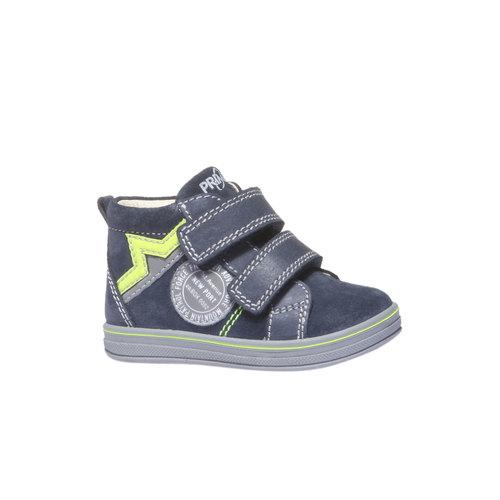 Scarpe in pelle alla caviglia con chiusure a velcro primigi, blu, 113-9121 - 13