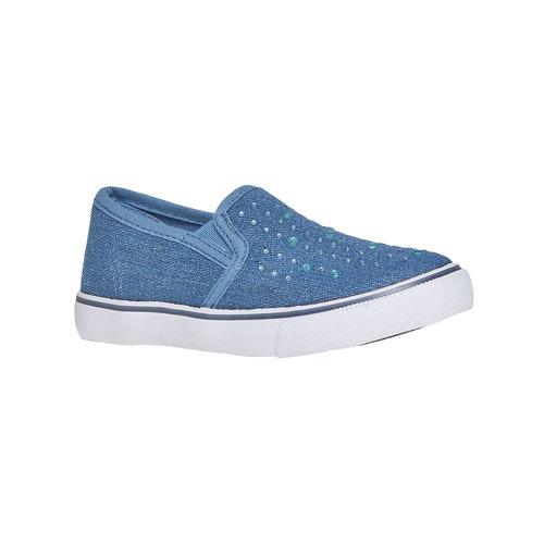 Slip-on da ragazza con strass mini-b, blu, 229-9148 - 13