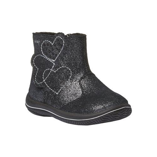 Stivaletti in pelle alla caviglia di colore metallizzato primigi, nero, 193-6100 - 13
