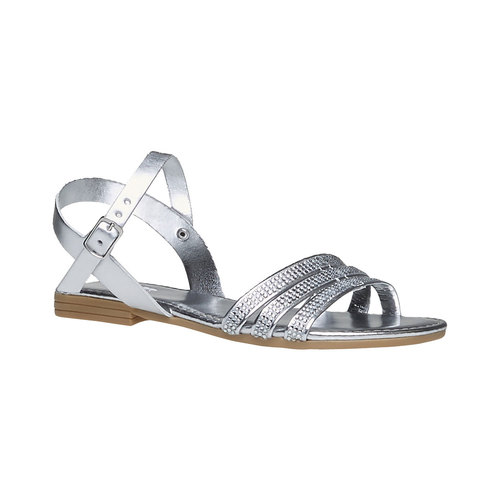 Sandali da bambina con strisce mini-b, argento, 361-1175 - 13