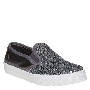 Slip-on da ragazza con glitter north-star, grigio, 329-2235 - 13