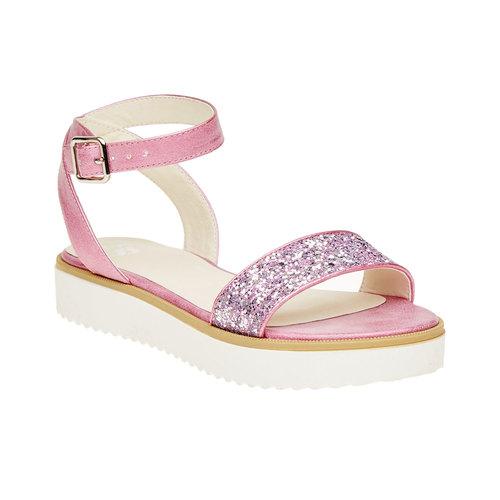 Sandali con flatform con strass mini-b, rosa, 361-5165 - 13