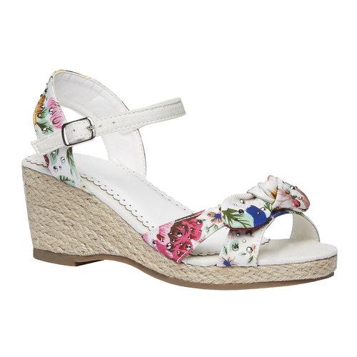 Sandali da bambina con plateau mini-b, bianco, 369-1168 - 13