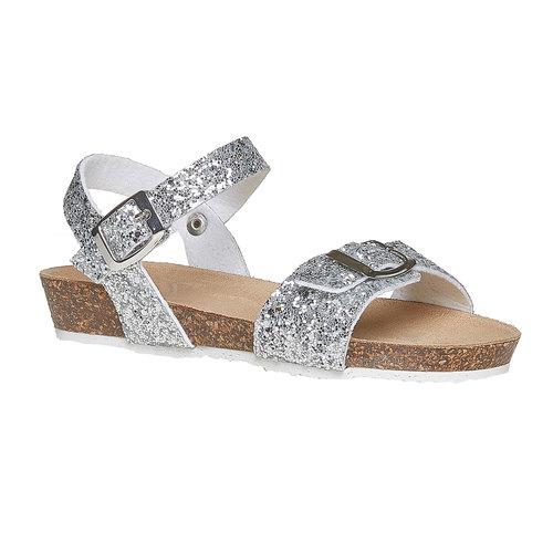 Sandali con glitter e suola di sughero mini-b, grigio, 369-2189 - 13