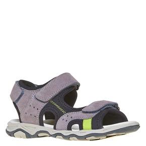 Sandali sportivi da bambino con tomaia di pelle mini-b, grigio, 463-2107 - 13