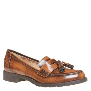 Loafers da donna in pelle con nappe bata, marrone, 514-3246 - 13