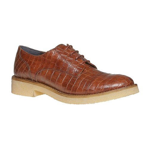 Scarpe basse da donna con effetto pelle di coccodrillo bata, marrone, 521-3317 - 13