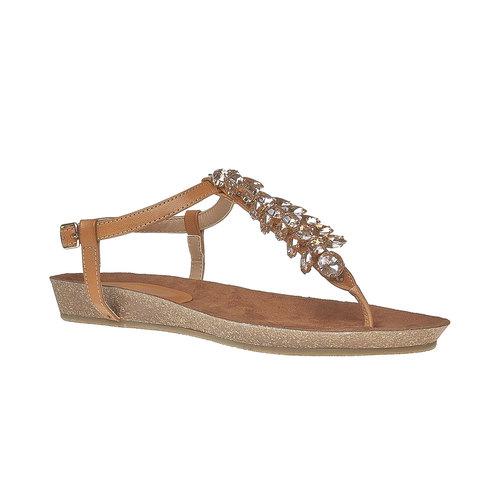 Sandali da donna con strass sul collo del piede bata, marrone, 561-3379 - 13