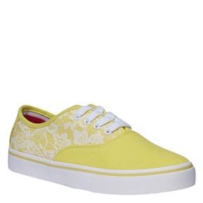 Sneakers di tela con pizzo north-star, giallo, 549-8222 - 13