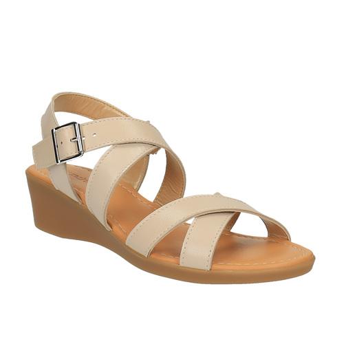Sandali di pelle con tacco a zeppa sundrops, giallo, 564-8400 - 13