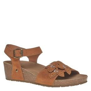 Sandali con tacco a zeppa bata, marrone, 569-3403 - 13