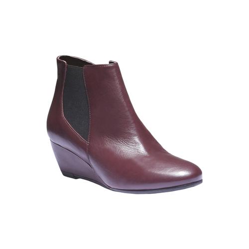 Scarpe di pelle alla caviglia con zeppa bata, rosso, 694-5172 - 13