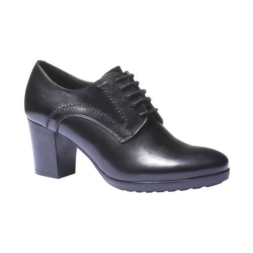 Scarpe basse da donna in pelle con tacco bata, nero, 724-6792 - 13