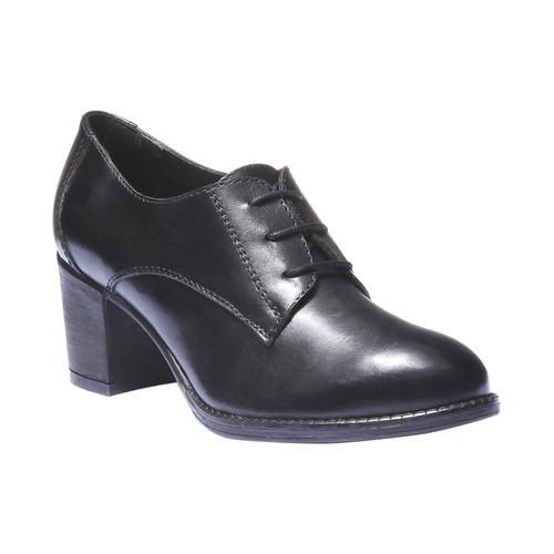 Scarpe basse da donna in pelle con tacco bata, nero, 724-6788 - 13