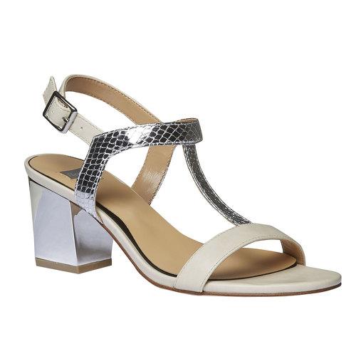 Sandali dal tacco ampio bata, bianco, 761-1408 - 13