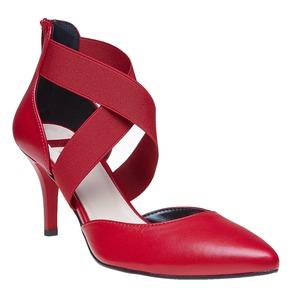Décolleté rosse in pelle con cinturini sul collo del piede bata, rosso, 724-5369 - 13