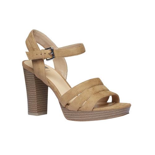 Sandali da donna con tacco massiccio bata, beige, 769-8484 - 13