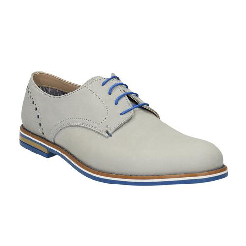 Scarpe basse di pelle con suola colorata bata, grigio, 826-2839 - 13