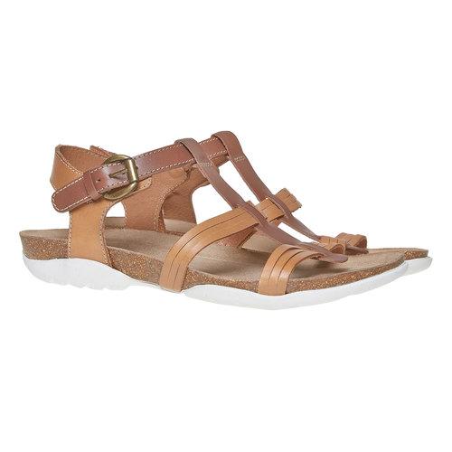 Sandali da donna in pelle weinbrenner, marrone, 564-3315 - 26
