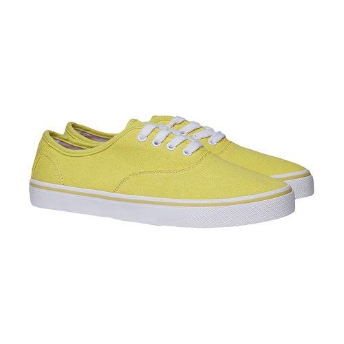 Sneakers di tela con suola bianca north-star, giallo, 549-8221 - 26