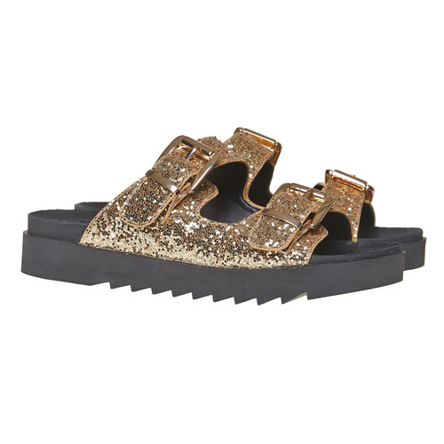 Slip-on da donna con paillettes dorate bata, giallo, 561-8309 - 26