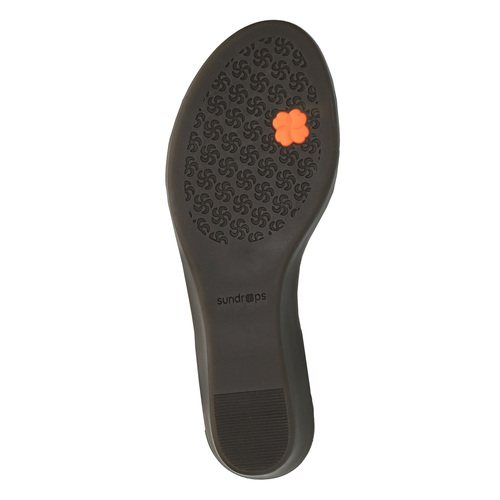 Sandali di pelle con tacco a zeppa sundrops, nero, 564-6400 - 26