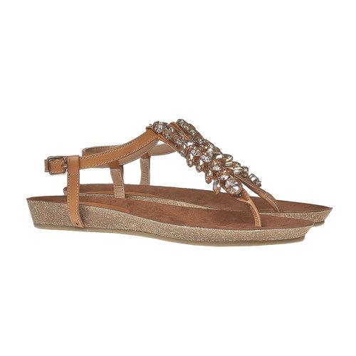 Sandali da donna con strass sul collo del piede bata, marrone, 561-3379 - 26