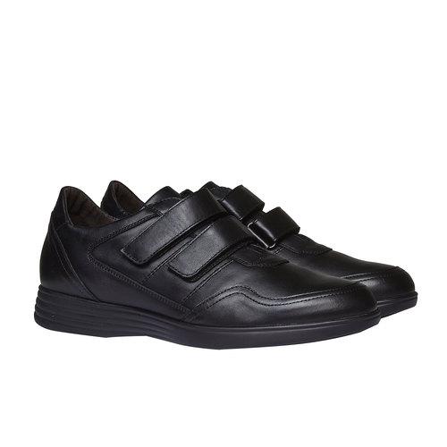 Sneakers in pelle con chiusura a velcro air-system, nero, 814-6134 - 26