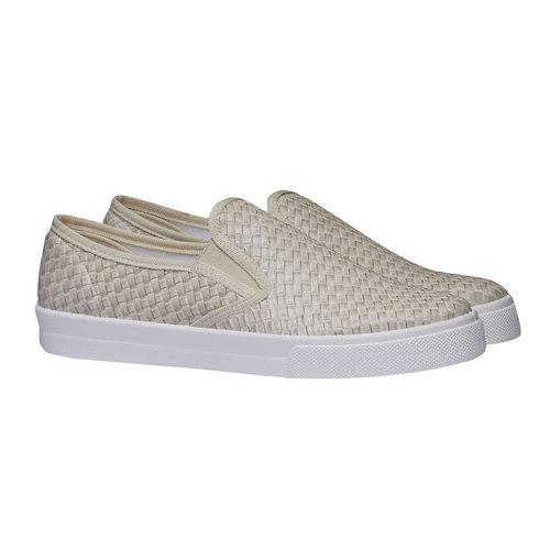 Sneakers alla moda dal design intrecciato bata, giallo, 511-8124 - 26