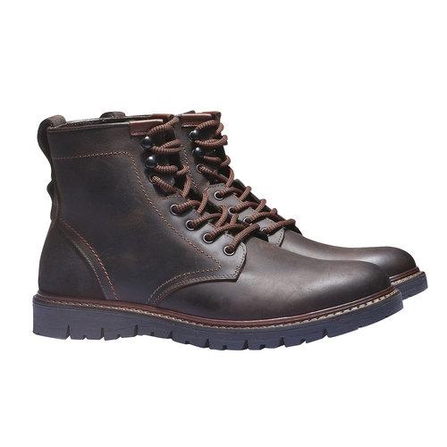 Scarpe di pelle alla caviglia bata, marrone, 894-4360 - 26