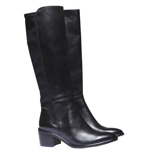 Stivali di pelle bata, nero, 694-6249 - 26
