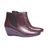 Scarpe di pelle alla caviglia con zeppa bata, rosso, 694-5172 - 26