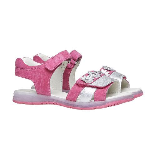 Sandali in pelle con fiori mini-b, rosa, 263-5163 - 26