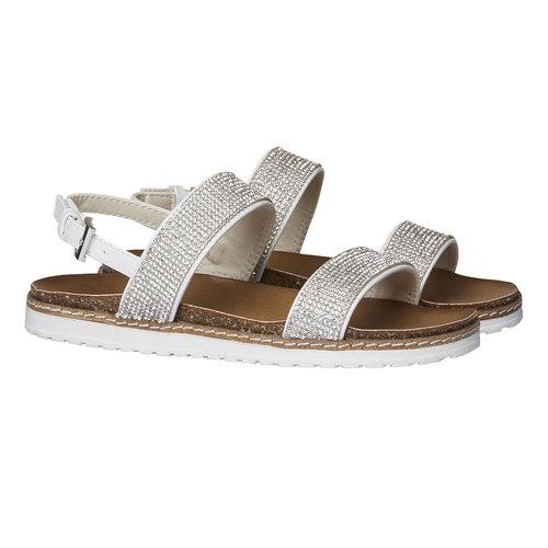 Sandali da ragazza con strass mini-b, bianco, 361-1183 - 26