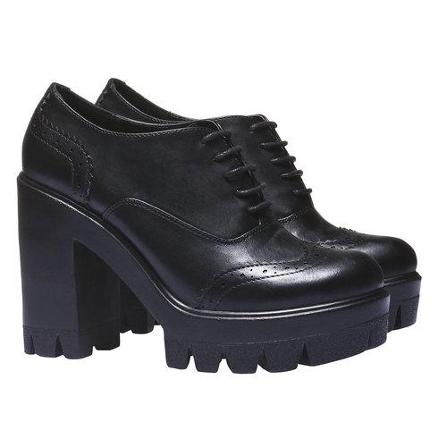 Scarpe basse da donna con suola massiccia bata, nero, 721-6104 - 26
