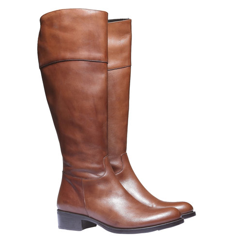 Stivali di pelle con tacco basso bata, marrone, 594-3223 - 26