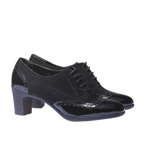 Scarpe basse da donna in pelle con tacco flexible, nero, 623-6155 - 26