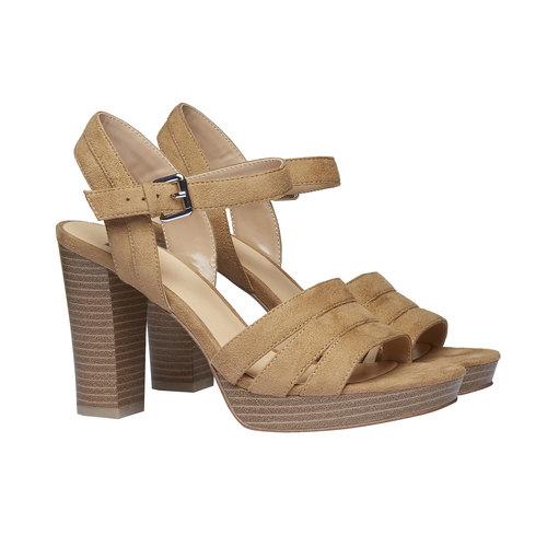 Sandali da donna con tacco massiccio bata, beige, 769-8484 - 26