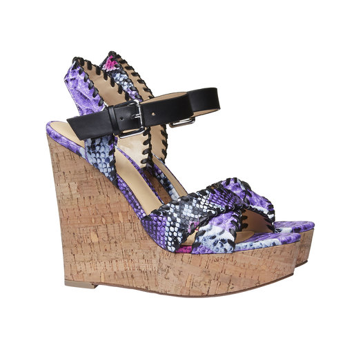 Sandali da donna con plateau e cinturino bata, viola, 761-9527 - 26