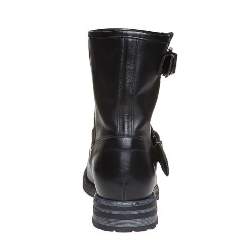 Stivaletti alla caviglia in pelle con fibbie bata, nero, 594-6102 - 17