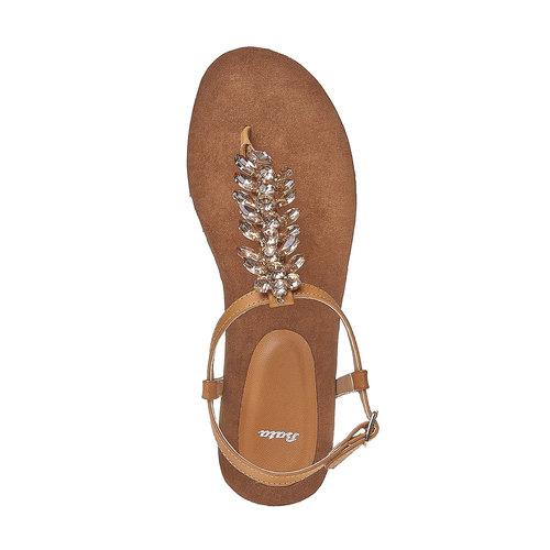 Sandali da donna con strass sul collo del piede bata, marrone, 561-3379 - 19