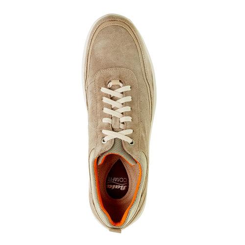 Sneakers informali di pelle bata-comfit, beige, 843-8643 - 19