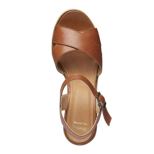 Sandali da donna con strisce di pelle bata, marrone, 764-4511 - 19